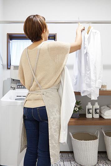 独立した洗面室。急な来客時も、気にせずに部屋干しが可能です。